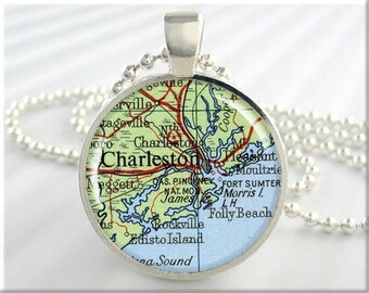 Charleston Map Pendant, Resin Charm, Charleston South Carolina, Vintage Map Necklace, Round Silver, Gift Under 20, Picture Pendant 571RS