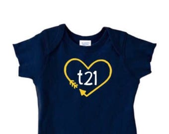 """Down Syndrome Awareness Onesies ~ Baby Girls or Baby Boys, Navy Short-Sleeved Onesie with Yellow and White """"T21"""" Logo and Arrow Heart"""