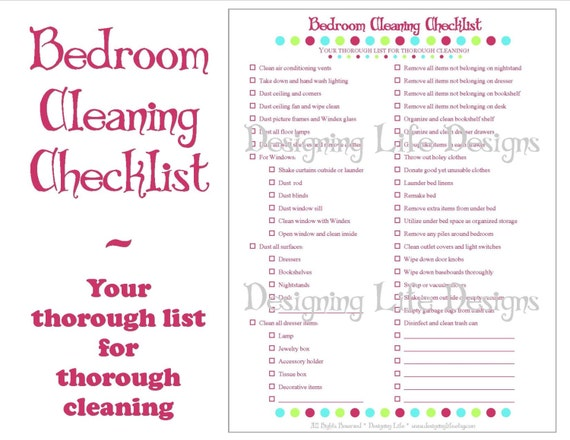 Bedroom Cleaning Checklist | Bedroom Cleaning Checklist Pdf Printable Household