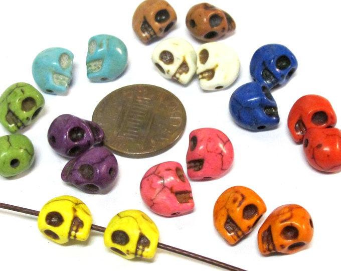 20 Beads - 10 pairs - Mix colors cute small size Howlite turquoise color  skull beads 10 mm x 8 mm  - GM447