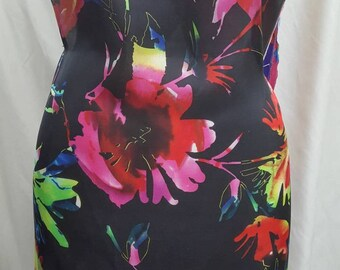 Floral Printed Silk Fabric, Fuchsia, Royal, Black