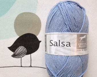 WOOL SALSA blue delft - white horse