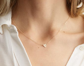 Tiny Initial Heart Necklace / Custom Hand Stamped Ultra Dainty Initial Necklace / 14k Gold Fill, Sterling Silver or Rose Gold Filled LN124_L