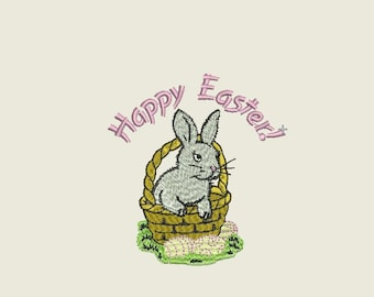 Easter bunny embroidery design machine embroidery patterns happy easter rabbit 6 files format PES JEF HUS