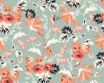 Apricot Quilting Fabric, Apricot Main Mint by Riley Blake, floral quilting fabric, large floral print