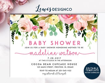 Floral Baby Shower Invitation | It's a Girl Shower Invite | Pink Shower Card |  Floral Baby Shower | Pink Boho Girl Baby Invite