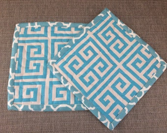 Potholders,pot holders, Fabric Potholders, Contemporary Potholders ,modern pot holders, 8 x 8 inch, turquoise