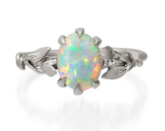 Opal engagement ring, Opal ring, Opal 18K White Gold Ring, Opal Jewelry, Unique Engagement ring, Australian Opal Ring, Leaves Opal Ring, 14