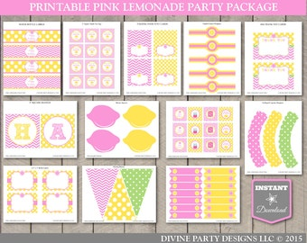 INSTANT DOWNLOAD Pink Lemonade Printable Birthday Party Package / Pink Lemonade Collection / Item #400