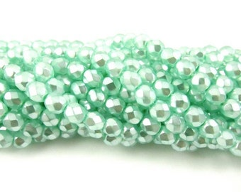 30 - Round Czech Fire Polished Faceted Glass Beads - Pearlized Aqua - 6mm .