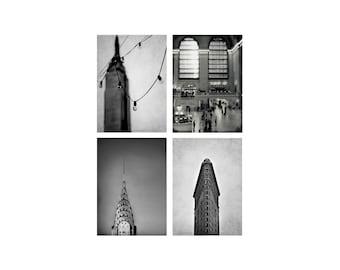 SALE, New York Print Set, Black and White New York Photography, Set of 4 Prints, Vertical Image