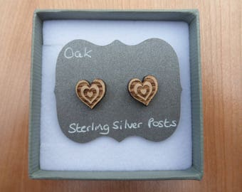 Oak Hearts within Heart Stud Earrings with Sterling Silver Backs.