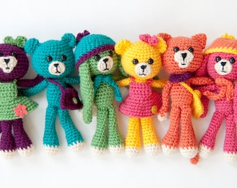 PDF Crochet Pattern - Amigurumi Bear, Bunny and Kitty