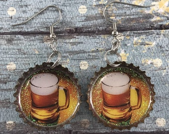 Beer Mug Earrings, Beer Cap Earrings, Beer Jewelry, Recycled Bottle Caps, Repurposed Earrings, Bottle Cap Earrings, Upcycled Jewelry