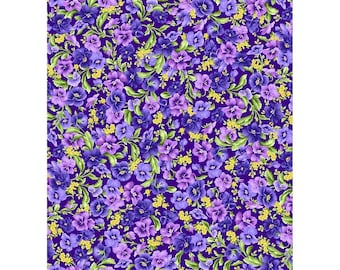 Emma's Garden~Packed Pansies On Purple Floral Cotton Fabric By Maywood