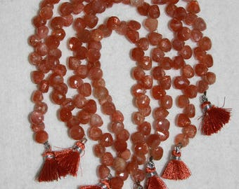 Sunstone, Sunstone Briolette, 7mm, Onion Briolette, Faceted Briolette, Semi Precious, Orange Bead, Natural Stone, HALF Strand, AdrianasBeads