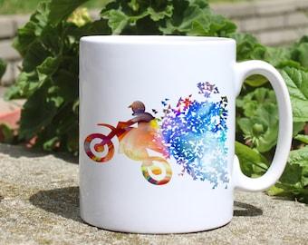 Motocross mug - Motorcycle mug - Colorful printed mug - Tee mug - Coffee Mug - Gift Idea