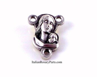 Virgin Mary and Baby Jesus Rosary Center Medal | Italian Rosary Parts