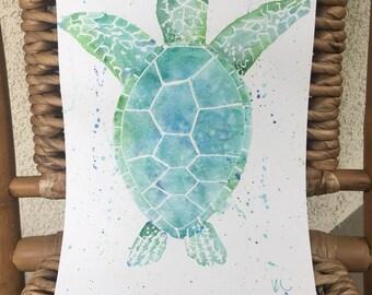 Sea Turtle Watercolor Painting **ORIGINAL**