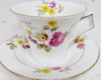 Colclough Floral Tea Cup and Saucer, Pink White and Yellow Flowers, Shower, Tea Party