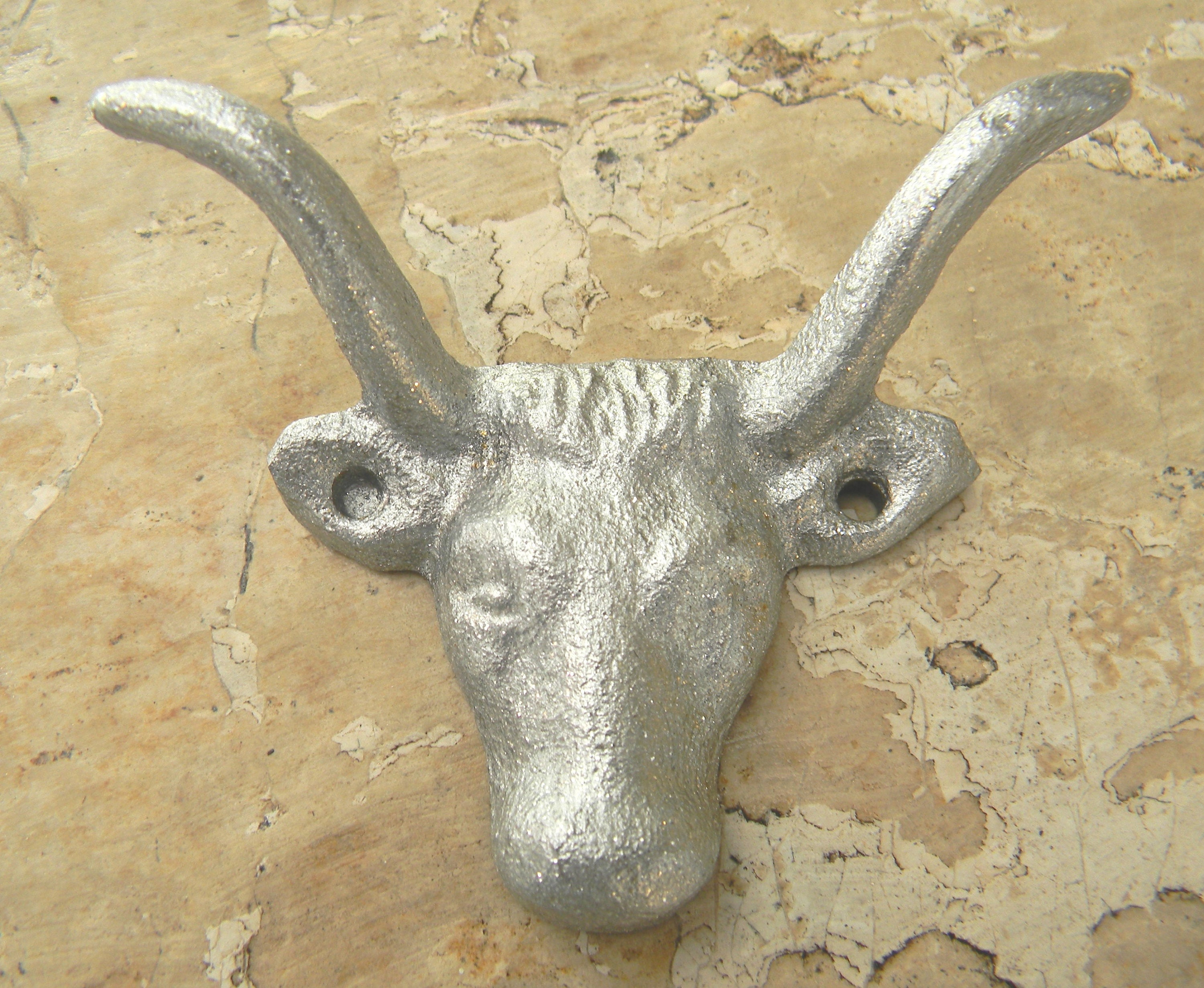 Cast Iron Silver Metallic Animal Skull Wall Hook Western