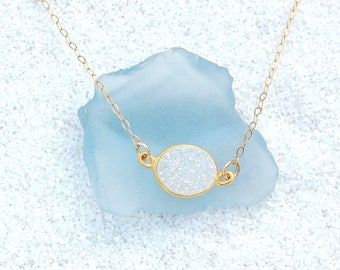 White Natural Druzy on Gold Filled Chain