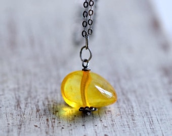 Baltic Amber Necklace - Amber Pendant - Golden Honey Yellow Necklace - Natural Amber Necklace - Oxidized Sterling Silver Necklace