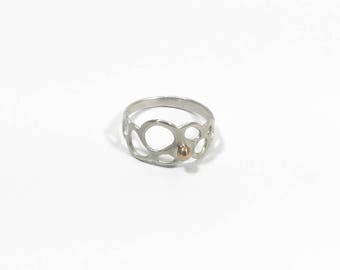 Cutout Cluster Ring #1 - Size 7  // Sterling Silver and Bronze