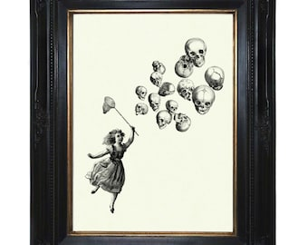 Halloween Girl Art Print Skull Balloons Victorian Steampunk art print Skeleton Anatomy Morbid Art Taxidermy Bones