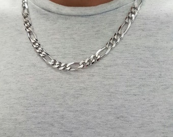 Italian sterling silver 925 rhodium plated Figaro necklace for men - Unique gift for men - Sterling silver heavy necklace for men