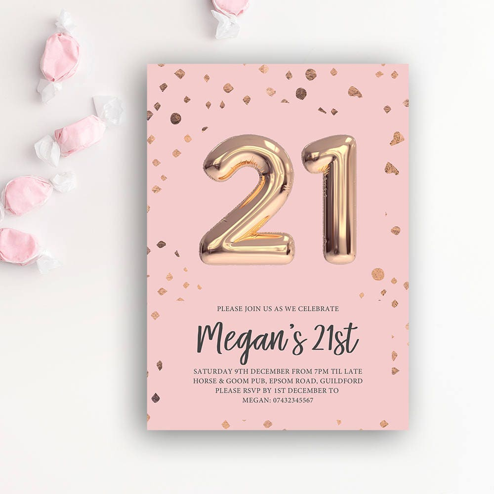 21st Birthday Printable Rose Gold Balloon
