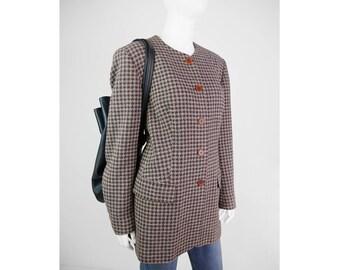 Checkered vintage blazer with round collar
