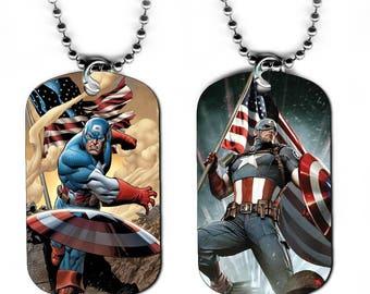 DOG TAG NECKLACE - Captain America 1 Avengers Superhero Comic Book Art