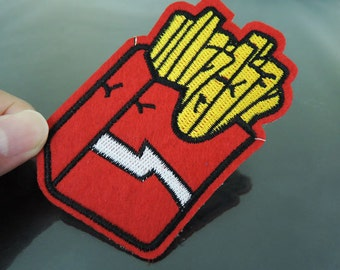 French Fries Patches - Iron on or Sewing on Patch Food Potato French Fries Patches Large Red Yellow Patch Embellishments Embroidery fonts