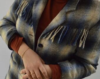 80s fringed wool blend plaid jacket/blazer, size US 8-10