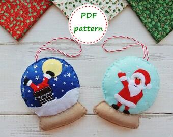 Felt SnowGlobe with Santa, SnowGlobe Pattern, Felt Pattern, Felt SnowGlobe, Felt Santa, Felt Сhristmas Ornament Patterns,Felt Сhristmas Tree