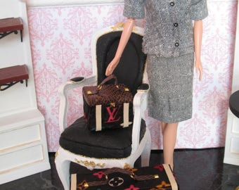 BROWN MULTI-COLOR  Luggage set for Barbie, Blythe, Momoko, Poppy Parker, Fashion Royalty