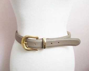 Capezio Women's Taupe Leather Belt with Gold Tone Buckle Size Small