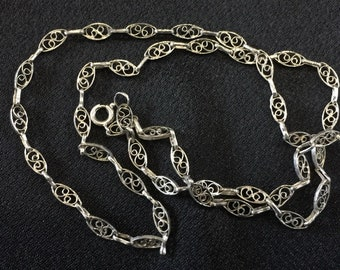 Sterling silver vintage handmade filigree chain necklace