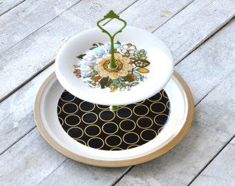 2 Tier Serving Tray, Cabachon: Modern Folk Geometric Floral Mandala, Vintage, Hostess Gift
