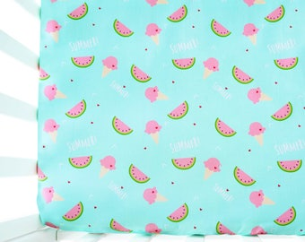Watermelon Sheet, Crib Sheet, Baby Crib Sheet, Fitted Sheet, Baby Girl Bedding, Crib Bedding, Toddler Bedding, Crib Fitted Sheet