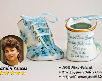 Porcelain Baby Shoe - Personalized Baby Boy Bootie - 100% Hand Painted Ceramic Baby Shoe Keepsake