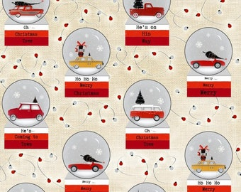 Around Town Christmas by Studio E - Snowglobe - Cotton Woven Fabric