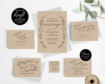 Rustic Wedding Invitation Template, Formal Wedding Invitation Printable, Vintage Invitation, Cheap Invitation, PDF Instant Download #E008i