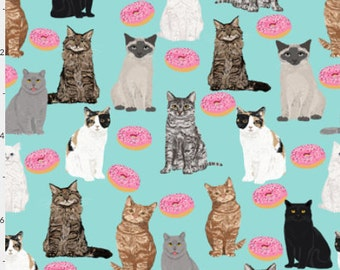 Large Project Bag Drawstring Cats and Donuts