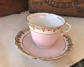 Vintage Colclough Tea Coffee Cup and Saucer Pink