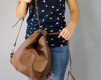 BROWN Backpack - Bag  2in1, Leather Brown backpack, Leather backpack, Woman backpack,  Ladies backpack, Brown Leather Rucksack