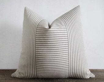 Pillow Cover Taupe Light Brown Ticking Vertical & Horizontal Stripes Zipper 18 x 18