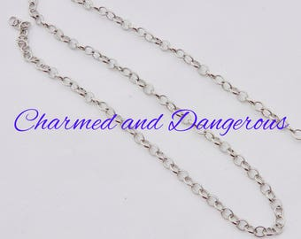 5x6mm silvertone oval link chain by the yard