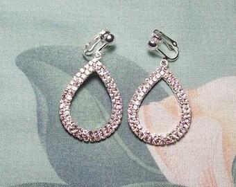 Teardrop Rhinestone Silver Christmas, Wedding, Prom, Evening Dangle Clip on Earrings or Pierced